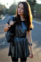 silver romwe dress - black tights - black romwe bag - black Aldo heels