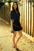 black romwe skirt - navy Forever 21 top - deep purple Aldo heels