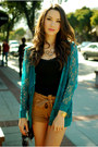 Mustard-forever-21-shorts-teal-forever-21-cardigan