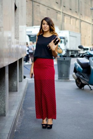 black Zara bag - black Celine top - ruby red bea skirt - black Zara sandals