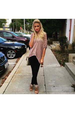 black jeans - nude heels - peach Mango blouse
