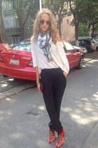 Terranova scarf - Ray Ban sunglasses - Terranova pants - new look blouse
