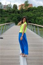 yellow electric Orsay shirt - blue Orsay skirt - black  H&M sandals