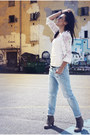 Brown-bershka-jacket-light-blue-zara-jeans