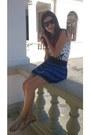 White-shirt-heather-gray-bag-black-sunglasses-black-skirt-blue-skirt