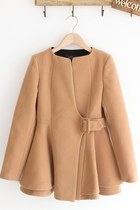Collarless Asymmetric Worsted Coat