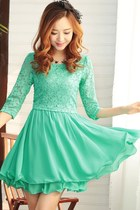 OASAP 2014 Flounce Lace Top Chiffon Dress