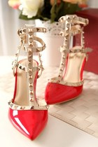 Red Studded Contrast Stilettos