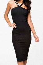 Black Double Straps Midi Dress