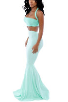 Women Halter Crop Top with Mermaid Maxi Skirt