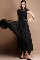 Fabulous Round Neck Cap Sleeve Chiffon Maxi Dress