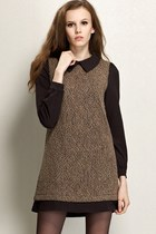 Panel Wool-blend Long Sleeve Shift Dress