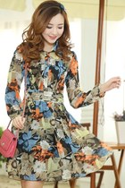 OASAP 2014 Graceful Floral Chiffon Shirt Dress