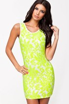 Cross Back Lace Panel Bodycon Dress