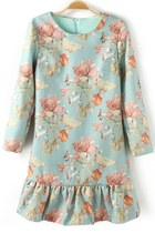 Flounce Floral Flower Print Dress with Back Zipper Closure
