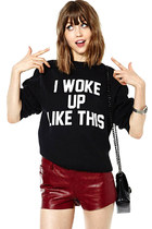 Women Long Sleeves I Woke Up Like This Black Sweatshirt