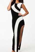 Flirty Monochrome Maxi Evening Dress