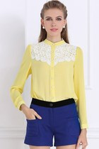 Yellow Lace Yoke Button-up Chiffon Shirt