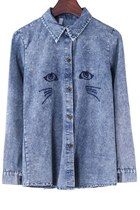 Cat Embroidered Denim Shirt