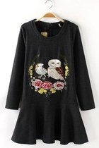 Flounce Owl Embroidered Dress