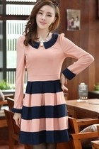 Sweet Color Block Ruffled Peter Pan Collar A-line Dress