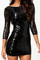 Black Sequin All Over Mini Dress