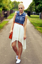Irregular Sleeveless Shirt Dress