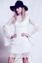 Sexy Women Floral Lace Bell Sleeve Vintage Dress