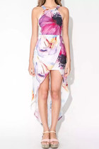 Aritistic Floral Print High-Low Dress