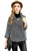 Women Long Sleeves Plaid Double-Breasted Heather Blazer