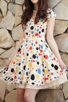 Sweet Polka Dot Bound Waist Dress