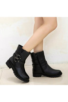 Women Basic Black Buckled Belt PU Short Boots