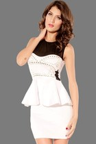 Front Rivets Adornment Peplum Dress