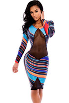Women Colorful Exotica Illusion Sexy Midi Dress