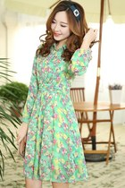 OASAP 2014 Sweet Floral Chiffon Shirt Dress