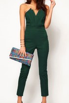Street-chic Green Strapless Jumpsuit