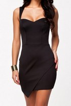 Black Wrap Front Hem Bodycon Dress