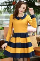 Yellow Sweet Color Block Ruffled A-line Dress