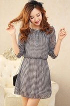 OASAP 2014 Half Sleeve Plaid Chiffon Dress