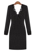 Black V Neck Knitted Bodycon Dress
