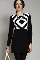 Elegant Brief Style Standout Contrast Geo Dress