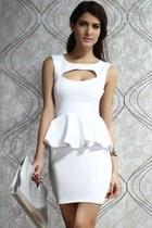 Hollow-out Chest Peplum Dress White