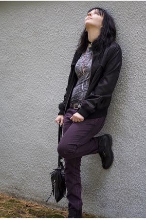 black Aldo boots - purple Tripp NYC jeans - black DKNY jacket