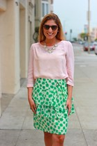 printed Anthropologie skirt - rhinestone Badgley Mischka necklace