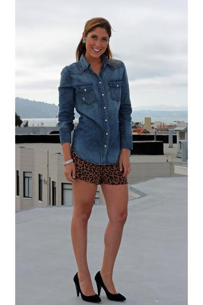 light brown leopard print Forever 21 shorts - blue western Levis shirt
