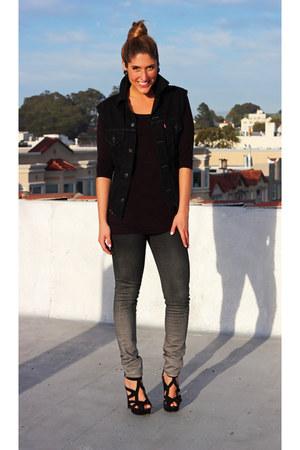 black ombre Levis jeans - black denim Levis vest - black Zara heels
