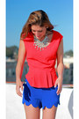 Blue-scalloped-camilla-tree-shorts-red-peplum-skies-are-blue-top