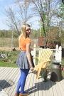 Orange-american-eagle-t-shirt-blue-forever-21-skirt-brown-vintage-belt-blu