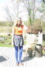 Orange-american-eagle-t-shirt-blue-forever-21-skirt-brown-vintage-belt-blu