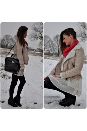 off white BSK jacket - ivory asos dress - hot pink NN scarf - black Zara bag
